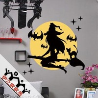 Witch Wall stickers halloween wall stickers Free Shipping for customizable