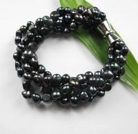 Free shipping 7-8mm black Freshwater Pearl Bracelet  Four-Rows Bracelets 2013