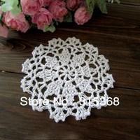 Free shipping Handmade Crochet Coaster Cotton Ecru Doily 12cm Cup mat Crocheted Doilies 50pcs/Lot