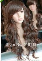 Hot-Sell Long Heat Resistant wigs brown curly long cosplay full wig wigs + weaving cap