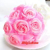 36 Bunches=432pcs X Artificial Foam Rose Flower Bunch W/Organza Mesh In Pink,White,Ivory,Purple,Blue  * FREE SHIPPING *