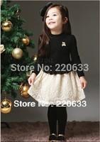 new 2014,autumn dress,chirdren girl lace dress,long sleeve children clothes girl's clothes,kids wedding dress