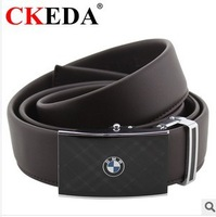 Men's leather fashion alloy automatic buckle business logo leather belt.  Bag mail