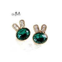 Green Rhinestone Studded Rabbit Cute Earring