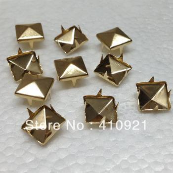 100pcs/lot NEW 10mm Rose Gold Pyramid Studs Rivet Spike Nickel Punk Bag Belt Shoes Leathercraft DIY Findings Hot Wholesale Lot