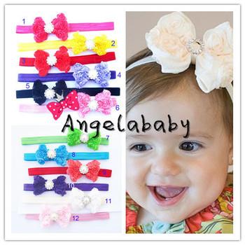 Chiffon Rosettes Flower Headbands With Pearl Center  Baby Girls Flower Headbands Bow Headbands 24pcs/lot