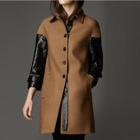 2013 fashion high quality slim long patchwork design wool wool coat outerwear Women