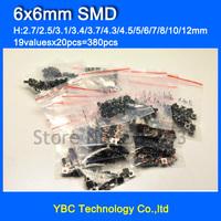 Free Shipping 19valuesx20pcs=380pcs Tact Switch Kit 6*6 SMD Tactile Push Button Switches 6x6mm Micro Switch
