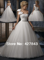 Hot Sale One Shoulder with Bow Tulle Sash Crystal Beadings Bridal Ball Gown Wedding Dresses