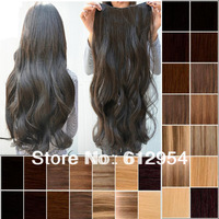 "Free Shipping ! 1pcs/lot 17"" 23"" 5 Colors To Chose Synthetic Clip In On Hair Extensions Black Brown Blonde 5colors Upick"