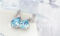 2013 fashion crystal elliptical stud earrings free shipping wholesales