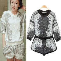 2013 Free shipping Casual set Jumpsuits female summer autumn fashion Women plus size sweatshirt sports set shorts