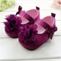 CL0624 Free Shipping Purple Flower Baby Shoes, Soft Sole First Walker Princess Dress Kid Shoes, 3 Sizes 11cm, 12cm, 13cm