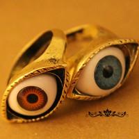 Europe exaggerated retro punk style jewelry wholesale blue eye ring C8019