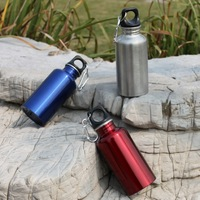 Stainless Steel Sports Water Bottle Outdoor Bicycle Hiking Camping 400ml Water Bottle with Hook Free Shipping