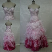 DME064 Dreamaker sweetheart beaded crystal puffy organza alibaba two tone prom dresses 2013