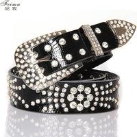 Feimu flower rhinestone strap Women genuine leather diamond belt crocodile pattern cowhide fashion decoration