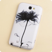 Colored drawing flower black ink  for SAMSUNG   n7100 mobile phone case phone case n7100 note2 protective case protective case