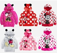 Retail New Arrival Child Boys Girl Hoodie Long Sleeve Hoodies Mickey Minnie mouse cartoon top kids t shirts Free Shipping