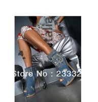 Women's open toe fish mouth jeans lace boots short, platform high heel Rhinestone shoes Sandals boot dropshiping free shipping