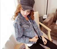 6206 loose casual personality rivet back denim coat short jacket female denim outerwear