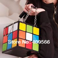 2014 personality magic cube bag portable women's style handbag portable day clutch cosmetic  multi-purpose  chain free shipping