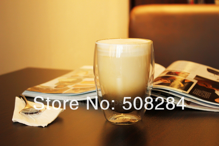 Free Shipping 4pcs wholesale Bodum 350ml tea Pavina Double Wall Espresso reusable Glass Coffee Cup Double Wall Glass(China (Mainland))