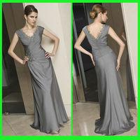 DDS22 Delicately v-neck applique bodice backless sweep trian evening dress 2014