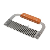 V1 Hardwood Handle Crinkle Wax Vegetable Soap Cutter Wavy Slicer Stainless Steel
