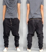 free shipping 2014 Regular button black Mens Pants Low Rise Plus Size plus size Male Casual Harem Pants Men Thin Pencil Trousers