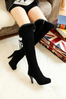 2013 autumn and winter rabbit fur over-the-knee gaotong boots genuine leather over-the-knee high-heeled boots female boots thin