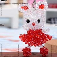 10ps/lot  69x27mm cute cat key chain handmade beading mobile phone chain,key chain,imitation crystal strap,free shipping