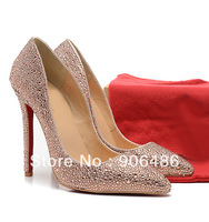 Free shipping red bottoms best quality Pigalle rhinestone pumps champagne crystal wedding shoes bridal  crystal pumps