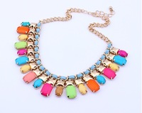 Free Shipping 2013 European New Crystal Gem Geometry Choker Statement Bib Necklaces Fashion Jewelry For Women Wholesale