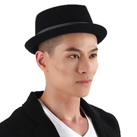 Free shipping men's  hat black fedoras jazz hat autumn and winter fashion elegant wool felt hat hip-hop cap