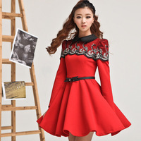new 2013 lace cape pleated royal slim fashion bright color one-piece dress with belt