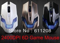 2400DPI Blue-ray USB 6D Button Optical Gaming Game Mouse Mice New Free shipping & wholesale
