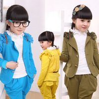 Big boy female set autumn female child boy set child autumn female 10 - 12 kids clothes Children Clothing Sets Free Shipping