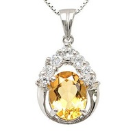 Fashion drop shaped pendant natural yellow crystal necklace s925 pure silver jewelry gift