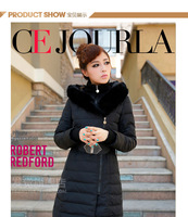 2013 Winter Oblique Zipper Belt Fashion Slim Down Coat High Quality Rabbit Fur Collar Woman Down Jacket FJ01
