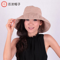 Hat women's summer sunscreen sun-shading folding outdoor linen bucket hats sun hat
