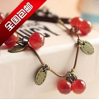 Free Shipping New Retro Cherry Agate Rhineston Ruby Jewelry Crew leather JC Necklace Wholesale