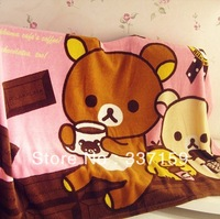 2013 new style! Free shipping Rilakkuma coral fleece cartoon air conditioning blanket, decorative and birthday gift for girls