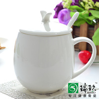 White bone china rabbit hat cup lid guzhici ceramic cover glass milk cup coffee cup spoon