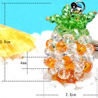 10ps/lot  25x38mm Pineapple key chain handmade beading mobile phone chain,key chain,imitation crystal strap,free shipping
