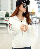 Age season plus-size women's fat MM han edition hoodies bats long-sleeved fleece loose wave after sports leisure coat