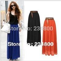 Free Shipping Amazing Chiffon Long Skirt 2014 New Fashion Bohemian Princess pleated Skirt High Quality