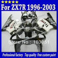 Custom for kawasaki fairing kits1996-2003 ZX7R fairings ninja ZX 7R 96 97 98 99 00 01 02 03 zx-7r glossy black white West SN25