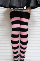 Lolita tights Princess sweet lolita stockings Powder black smut over-the-knee wide stripe stocking thigh thin cos soft cotton