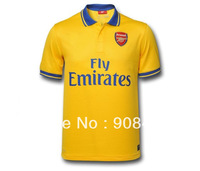Free shipping!13/14 top thail quality Arsenal yellow away soccer jersey  football shirt sport shirt  free name and number